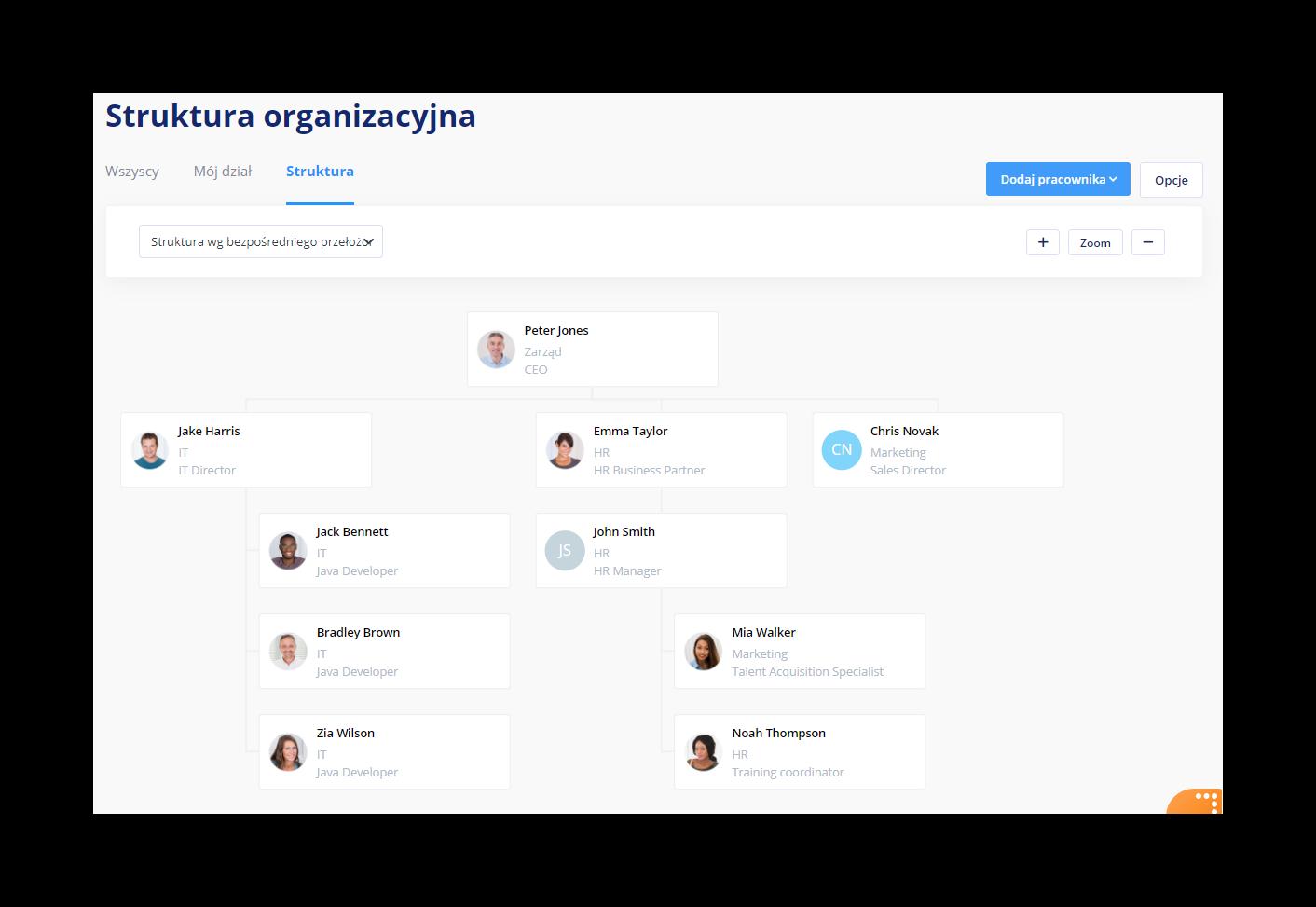 Struktura organizacyjna w firmie - Pracownicy - System HR